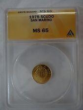 1975 San Marino 1 Scudo ANACS MS65 MS-65 Gold Coin Respvblica Marini MS 65 RARE