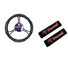 New NFL Tampa Bay Buccaneers Car Truck Steering Wheel Cover Seat Belt Pads Cover