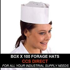 100x Forage Hats Chef Headwear Disposable Catering White Hat Disposable Hygiene