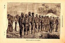 GRAVURE SUR BOIS 19ème SOLDATS DE LA GARDE DE LA REINE HOVAS MADAGASCAR