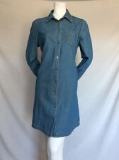 Women's MATCHI USA Light Blue Denim 100% Cotton Long Sleeves Shirt Dress Size 10