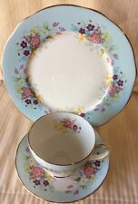 DUCHESS English Bone China Wild Flowers Trio - Cup - Saucer - Dessert Plate