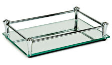Glass Vanity Mirrored Tray Dressing Table Jewelry Perfume Makeup Catch All Dish