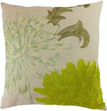 "Decorative Flower Emboirdery & Applique Floral Throw Pillow Cover 18"" Lime Green"