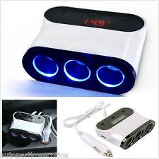 12v-24v 3 Way Car Cigarette Lighter Multi Socket Twin USB Ports Charger Adapter