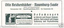 Dachdecker Reichenbächer Naumburg Reklame von 1921 Dachziegel Dach Bedachung ad