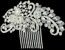 Bridal Bridesmaid Wedding Rhinestone Party Hair Diamonte Clip Comb Silver