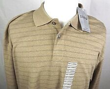 IZOD Mens Casual Long Sleeve Shirt Size 2XL NWT 100% Cotton Tan with Stripes