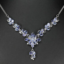 Sterling Silver 925 Genuine Natural Tanzanite Modern Cluster Necklace 17.75 Inch