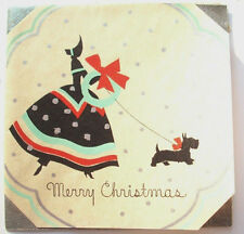 Walk with my Scottie Scotty dog to get wreath Christmas vintage greeting card C*