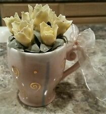 AppleTree Design Pink Gift Mug w/ Yellow Porcelain Flowers Bouquet in a Cup