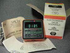 ELECTRONIKA Alfa 12-41A vtg. Soviet Russian digital VFD alarm clock papers box