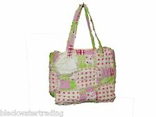 Pink & Lime Green Quilted Patchwork Rag Purse Handbag Bag NWT #33129