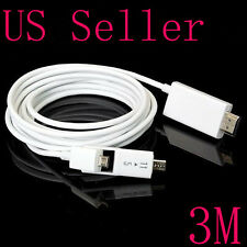 3M MHL Micro USB to HDMI HDTV Coverter Cable Adapter Connector For HTC One M8 M9