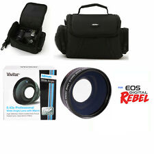 WIDE ANGLE LENS +MACRO LENS + CARRYING BAG CASE FOR CANON EOS REBEL DSLR CAMERAS