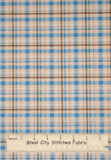 VIP Plaid Blue Brown Cream Boy Girl Sew Quilt Craft 100% Cotton Fabric YARD