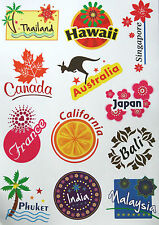 Travel PVC Luggage Stickers Sticker Asia Pacific Europe Australia Canada -A4