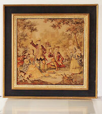 Baroque French Picnic Scene with Castle at Background Woven Gobelin Tapestry