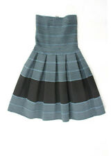PLEASURE DOING BUSINESS Blue Black Pleated Strapless Dress Sz XS