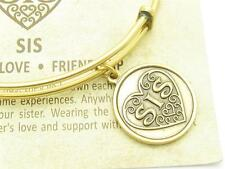Wind & Fire Sis Sister Heart Gold Charm Wire Bangle Stackable Bangle Bracelet