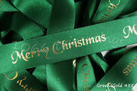 Berisfords Merry Christmas Ribbon Green With Foil Print  2  Widths 10mm & 25mm