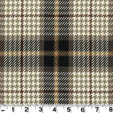 Roth & Tompkins Plaid Drapery Upholstery Fabric Brennan Kohl Brown Blue Grey