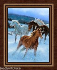 "Springs ~ Pinto Chestnut White Gray HORSES ~ 100% Cotton Fabric 36"" Quilt Panel"