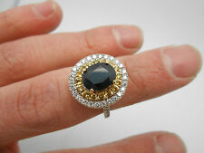 Absolutely Stunning 14k Gold Natural Blue & Yellow Sapphire & Diamond Halo Ring