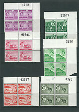 MAURITIUS 1953 QEII definitives (6 different sheet number blocks of 4) VF MNH