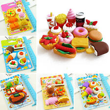 NT Funny Food Rubber Pencil Eraser Set Stationery Novelty Children Party Gift