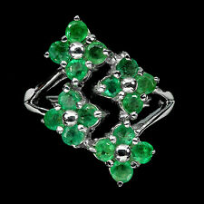 Sterling Silver 925 Genuine Natural Emerald Flower Ring Size R 1/2 (US 9)