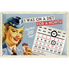 Vintage PIN UP I Was On A Diet Ewiger Kalender / Blechschild Rockabilly