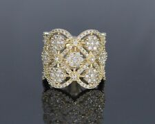 $7,020 EFFY D'Oro 14k Yellow Gold 1.71ct Cluster Round Diamond Ring Band Sz 8