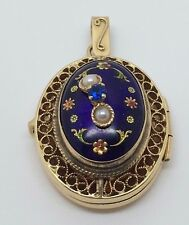 14K ANTIQUE YELLOW GOLD ENAMEL LOCKET WITH PEARLS AND SAPPHIRE PENDANT