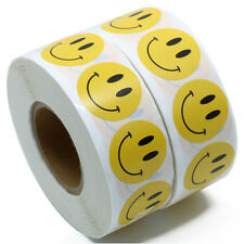 "Yellow Smiley Face Happy Stickers 1""  Round Circle Teacher Labels Total 2 rolls"