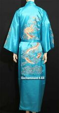 Embroidered Dragon Design Double Happiness Silk Kimono Robe Waist Tie, Turquoise