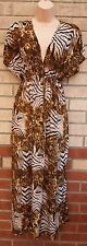 BROWN LEOPARD ANIMAL PRINT CAPE V NECK LYCRA BELTED LONG MAXI FLIPPY DRESS M L