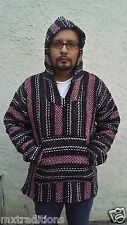 LARGE Mexican Baja Hippie Surfer Pullover Hooded Sweater Pink/Gray/ White