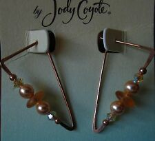 Jody Coyote Earrings JC0627 new hypoallergenic gold triangle beaded FH004G