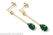 9ct Gold Green Agate Teardrop Earrings Gift Boxed Made in UK