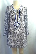 BEACH WEAR BLUE WHITE SEQUINS BEADED NECKLINE COVER UP TOP BLOUSE SHEER LARGE