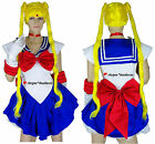 Sailor Moon Cosplay Anime Manga Fancy Dress Costume + Gloves - S M L 8 10 12 14