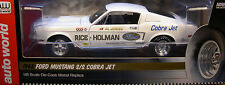 AUTO WORLD 1:18 SCALE RICE - HOLMAN WHITE 1968 FORD MUSTANG SUPER STOCK DRAG CAR