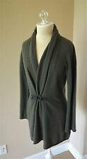 BIBELOT WOMENS Luxury 100% Cashmere Leather Buckle Cardigan Sweater M Moss