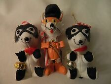 SET OF THREE VINTAGE STUFFED CHRISTMAS ORNAMENTS - 2 RACCOONS & 1 MOUSE - EUC