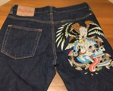 Ed Hardy STRIKING EAGLES Embroidered Denim Dark Jeans Men's 36x34 Tag