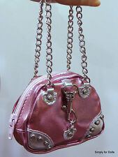 "PINK & SILVER Metallic w/Chains DOLL PURSE fits 18"" AMERICAN GIRL Doll Clothes"