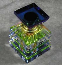 Pyramid Perfume Essential Oil Vitrail Rainbow Multi Color Cut Glass Bottle