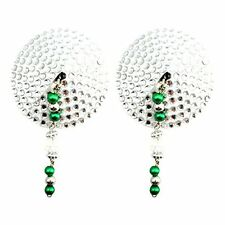 Bijoux de Nip Big Crystals Round Shaped Nipple Covers with Green Anodized Beads