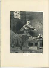ANTIQUE COMPOSER NICOLA PAGANINI PRISON JAIL PLAYING VIOLIN MUSIC OLD ART PRINT